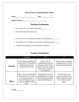 Bridge to Terabithia Reading Creative Project Activities and Rubric