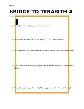 Bridge to Terabithia Reading Quiz - Chapters 1-8