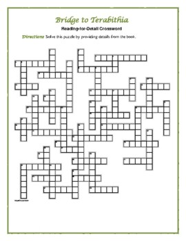 Bridge to Terabithia: Reading-for-Detail Crossword—Based on the Book!