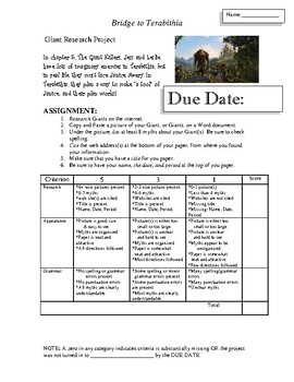 Bridge to Terabithia Research Project on Giants (After reading Chapter 5)