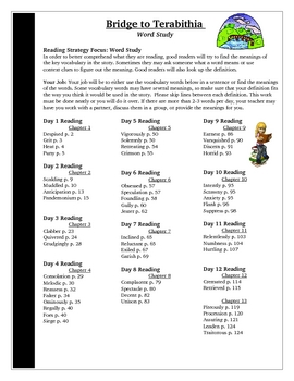 Bridge to Terabithia Spelling Vocabulary Word Study Activity