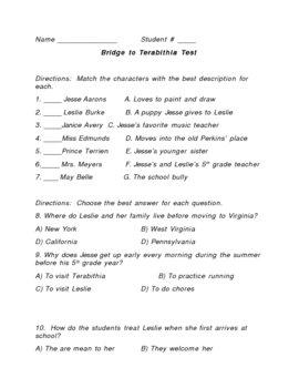 Bridge to Terabithia Test