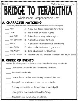 Bridge to Terabithia Test: Final Book Test with Answer Key