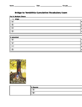 Bridge to Terabithia Vocab Exam
