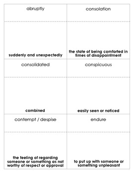 Bridge to Terabithia Vocabulary Bingo