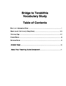 Bridge to Terabithia Vocabulary Study