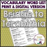 Bridge to Terabithia Vocabulary Word List