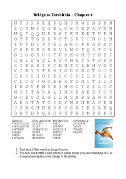 Bridge to Terabithia - Word Search Chapter 4 by M Walsh | TpT