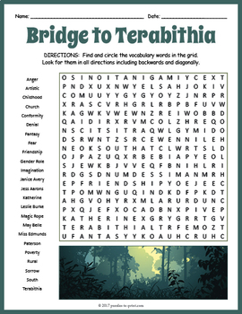 Bridge to Terabithia Word Search Puzzle