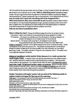 Bridge to Terabithia a guided reading novel study