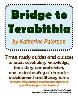 Bridge to Terabithia vocabulary and comprehension assessment packet