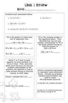 Bridges 5th Grade Math Unit 1