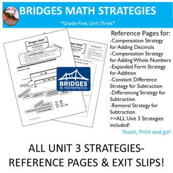Bridges Math: 5th Grade Unit Three Strategies- Reference Pages & Exit Slips