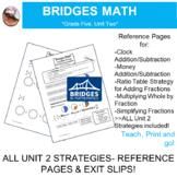 Bridges Math: 5th Grade Unit Two Strategies- Reference Pages & Exit Slips