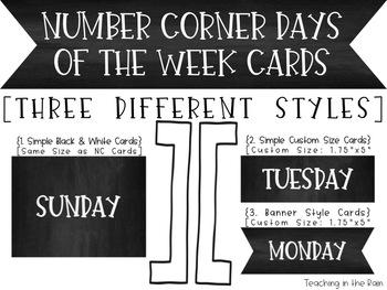 Bridges Number Corner Chalkboard Days of the Week Cards