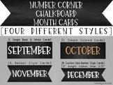 Bridges Number Corner Chalkboard Month Cards