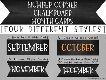 Bridges Number Corner Chalkboard Month Cards