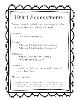 3rd Grade Quick Checks for use with Bridges in Mathematics Unit 1