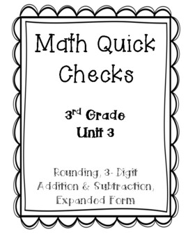 3rd Grade Quick Checks for use with Bridges in Mathematics Unit 3