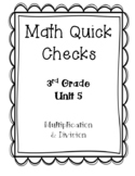 3rd Grade Quick Checks for use with Bridges in Mathematics Unit 5
