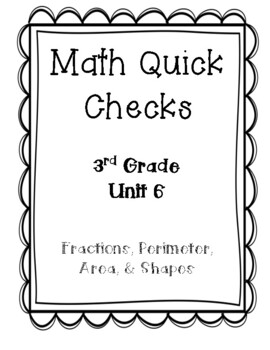 3rd Grade Quick Checks for use with Bridges in Mathematics Unit 6