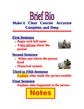 Brief Bio Writing Exercise- Medieval Times