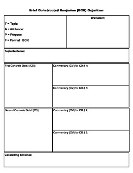 Writing-Using Text Support Graphic Organizer