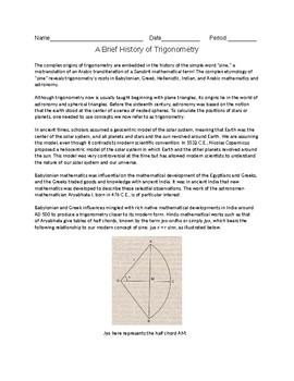 Brief History of Trigonometry