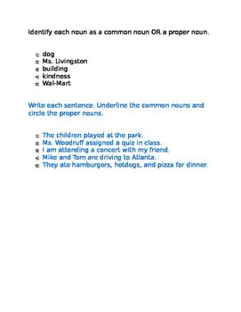 Brief Noun Quiz
