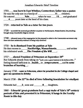 Jonathan Edwards: Brief Timeline (Biography)