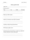 Brief parent questionnaire