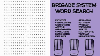 Brigade System Word Search; FACS, Culinary, Bellringer, Cooking, Escoffier Chef
