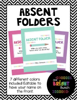 Bright Absent Folder Covers and Labels