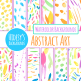Bright Abstract Art Handpainted Watercolor Digital Papers Clip Art Set