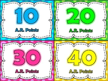 Bright Accelerated Reader Points Clip Chart