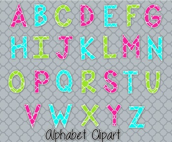 Bright Alphabet Clipart Set