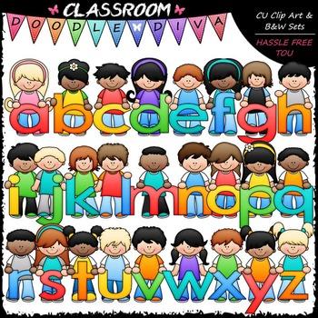 Bright Alphabet Kids (Lowercase) - Clip Art & B&W Set