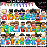 Bright Alphabet Kids (Lowercase) - Clip Art & B&W Set