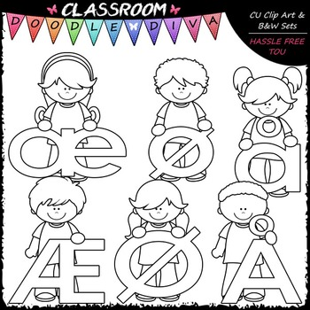 Bright Alphabet Kids Norwegian Special Letters Add-On Clip Art & B&W Set