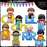 Bright Alphabet Kids Spanish Special Letters Add-On Clip Art & B&W Set