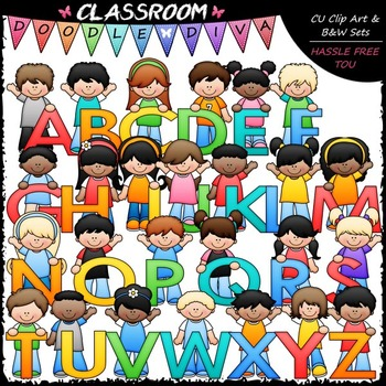 Bright Alphabet Kids (Uppercase) - Clip Art & B&W Set
