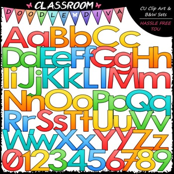 Bright Alphabet, Numbers & Punctuation Clip Art & B&W Set