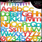Bright Alphabet, Numbers & Punctuation Clip Art & B&W Set