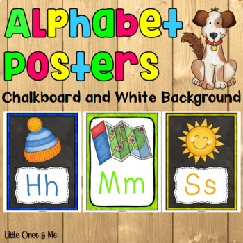 Bright Alphabet Posters Chalkboard and White
