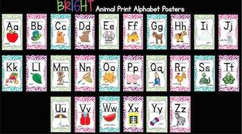 Bright Animal Print Alphabet Posters