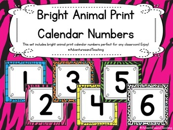 Bright Animal Print Calendar Numbers