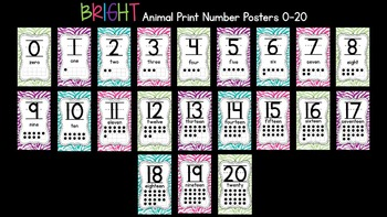 Bright Animal Print Number Posters 0-20