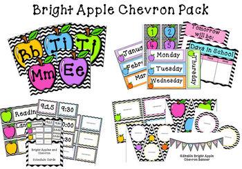 Bright Apple Chevron Classroom Pack