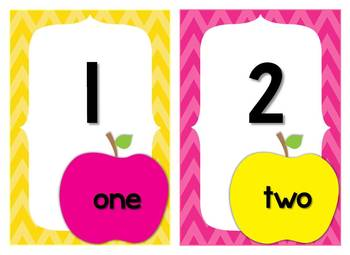 Bright Apple Chevron Theme Classroom Decor & Word Wall Headers