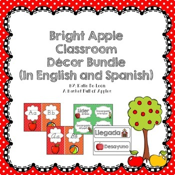 Bright Apple Classroom Decor Bundle in English and Spanish